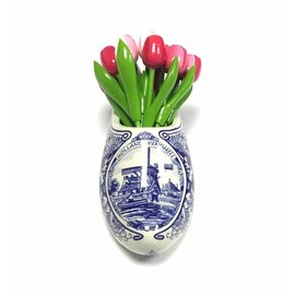 Wooden tulips in mixed pink  in a Delft blue clog