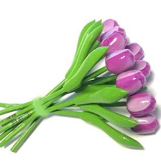boeket houten tulpen in de kleur paars 20cm