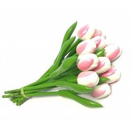 Bouquet weiß - rosa Holz Tulpen