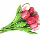 boeket kleine houten tulpen in gemengde kleuren rose
