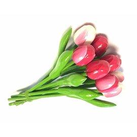 Bouquet Holz Tulpen in Mischfarben rosa