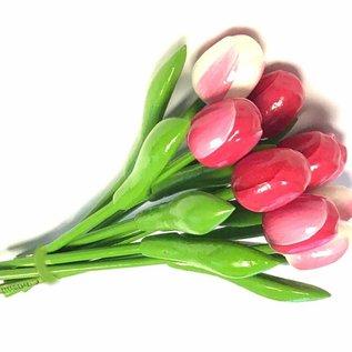 Boeket houten tulpen in gemengde kleuren rose