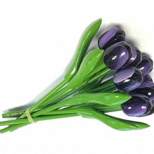 boeket houten tulpen in de kleur donker paars 20cm