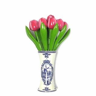 kleine Tulpen aus Holz in Rosa-weiß in einem blauen Vase Delft