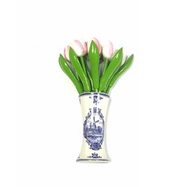 small wooden tulips in white-rosa in a Delft blue vase