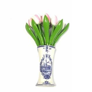 kleine Tulpen aus Holz in weiß-Rosa in einem blauen Vase Delft