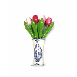 small wooden tulips in mixed colors pink in a Delft blue vase