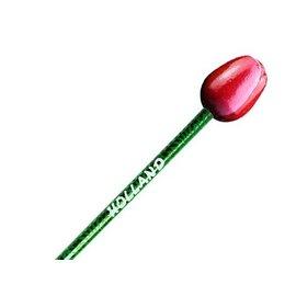 Rot-weiße Holztulpe auf einem Bleistift