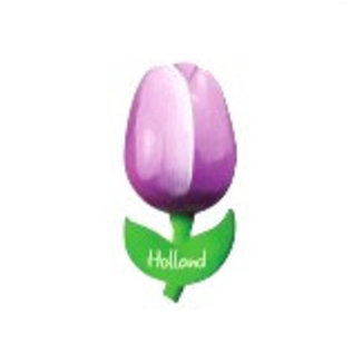 Purple wooden tulip on a magneet | wooden tulip directly available from stock
