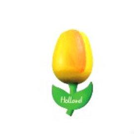houten tulp op een magneet geel