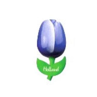 hölzerne Tulpe auf einem Magnet blau