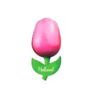 wooden tulip pink on a magnet