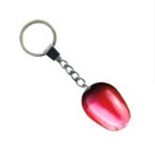 Red - white wooden tulip keychain