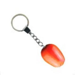 Oranje houten tulp sleutelhanger