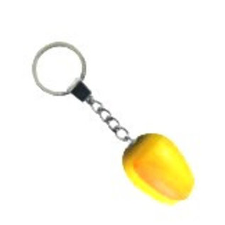 Yellow wooden tulip keyring