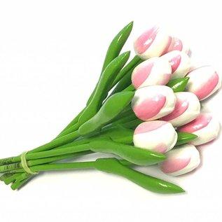 Bouquet Holztulpen Weiß-Rosa