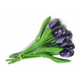 boeket met houten tulpen donker paars