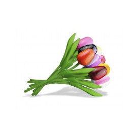 Boeket gemengde kleuren houten tulpen