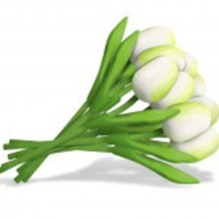 boeket houten tulpen wit
