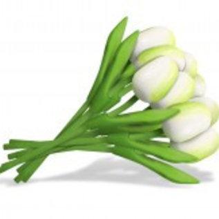Bouquet white wooden tulips