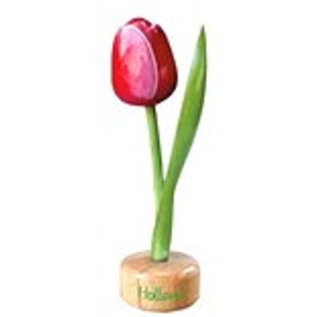 wooden tulip on foot in red / white