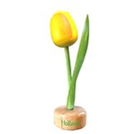 houten tulp op een voet in de kleur geel