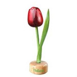 houten tulp op een voet in de kleur rood