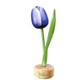 houten tulp op een voet in de kleur blauw