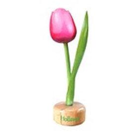 houten tulp op een voet in de kleur rose