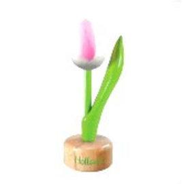 houten tulp op een voet in de kleur wit - rose