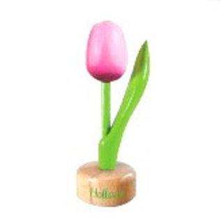 houten tulp op een voet in de kleur rose / wit