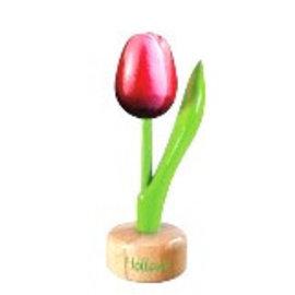 houten tulp op een voet in de kleur rood / wit
