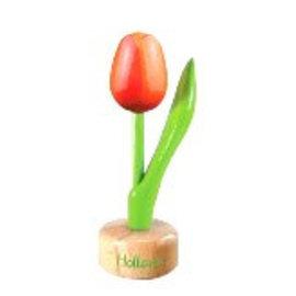 houten tulp op een voet in de kleur oranje