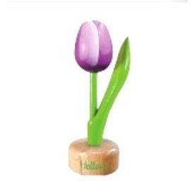 houten tulp op een voet in de kleur paars