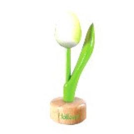 houten tulp op een voet in de kleur wit