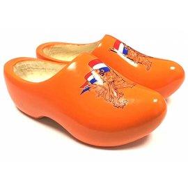 Orange children's clogs with lion