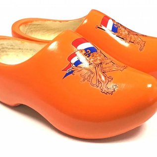 Orange children's clogs with lion