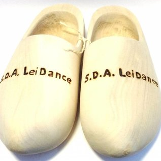 Wooden shoes with engraving