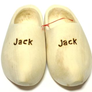 wooden shoes engraved.