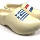 wooden clogs with flag