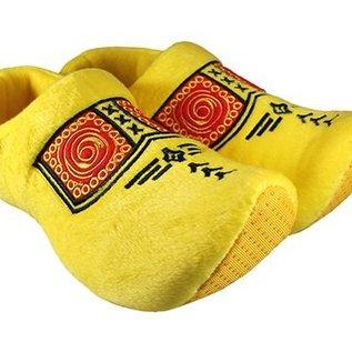 Clog Hausschuhe gelb mit Bauernmotiv
