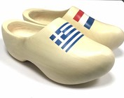 wooden shoes with flag