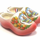 wooden clogs white with red sole