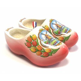 wooden shoes white with red sole