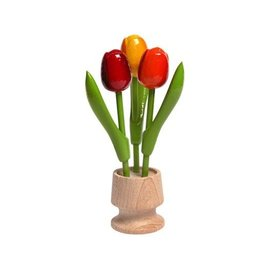 3 wooden tulip on one foot in the color red-orange-yellow