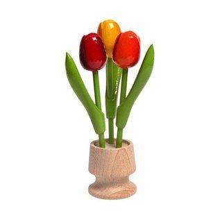 3 houten tulp op een voet in de kleur rood-oranje-geel