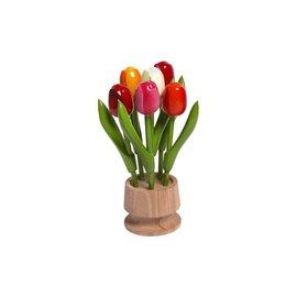 6 houten tulpen op een voet