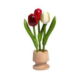 3 houten tulpen op een voet in de kleur rood-rose-wit