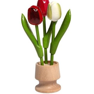 3 wooden tulip on one foot in the color red-rose-white