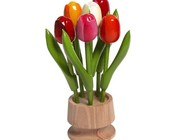 small wooden tulips on foot